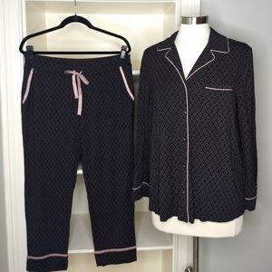 SOMA Pajamas Medium Set Black Pink w Pockets